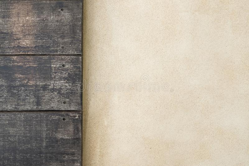 Top wooden and cement floor. wood texture for background.  stock photos