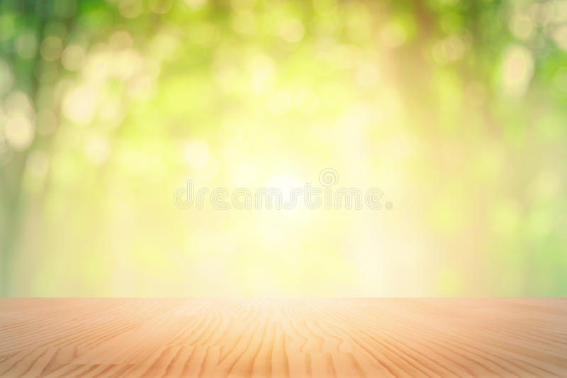 Top wooden table with nature soft green leaf background abstract bokeh defocus forest vector illustration