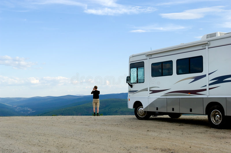 Top of the world. RV at the mountain top in Alaska stock photography