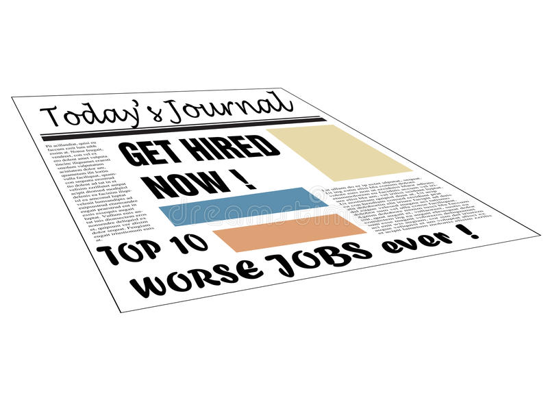 Top worse jobs ever. Isolated newspaper with hiring messages and the text top ten worse jobs ever written bellow with black letters vector illustration