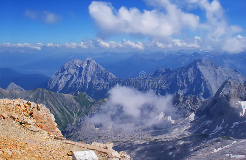 On top of the Zugspitze. royalty free stock photography