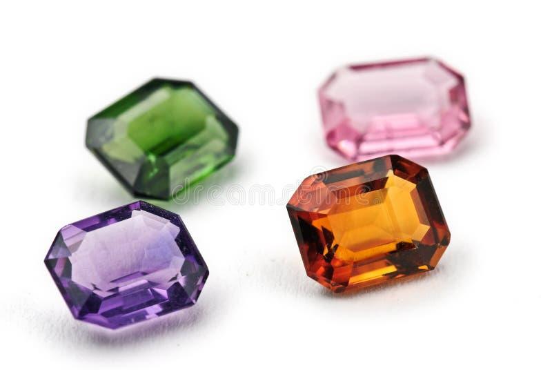 Topaz, ametista e jóias do tourmaline fotografia de stock royalty free