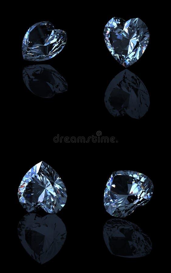 Topaz azul suíço da forma do coração. aquamarine foto de stock