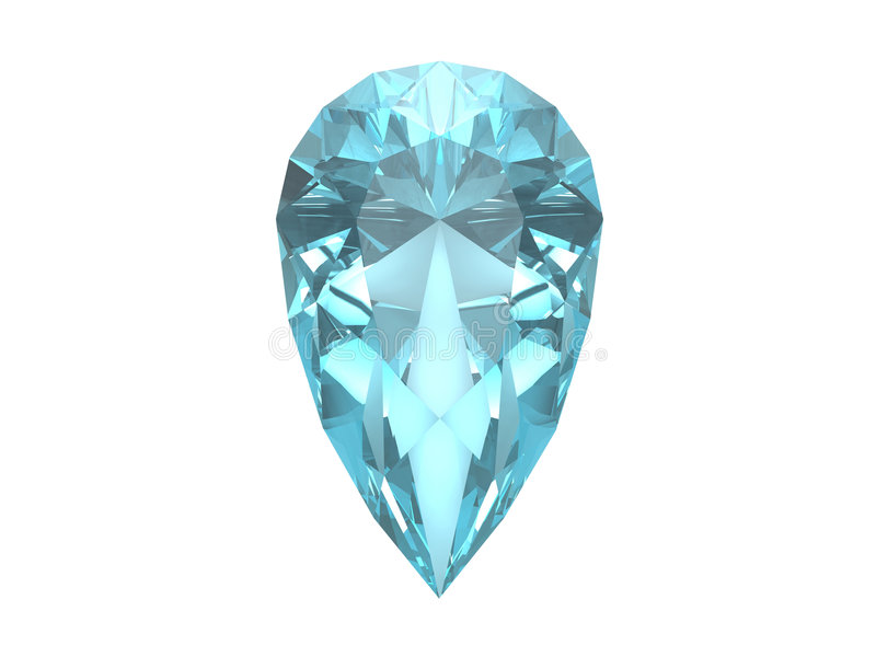 Topaz bleu d'isolement sur le fond blanc illustration de vecteur