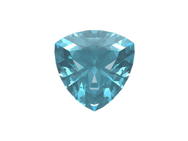 Topaz bleu. Forme de Trillon. illustration stock