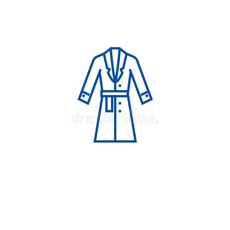 Topcoat, έννοια εικονιδίων γραμμών χειμερινών παλτών Topcoat, επίπεδο διανυσματικό σύμβολο χειμερινών παλτών, σημάδι, απεικόνιση  διανυσματική απεικόνιση