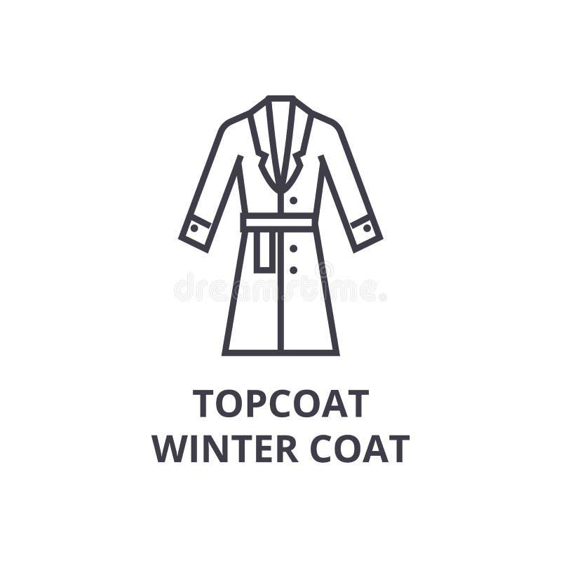 Topcoat, εικονίδιο γραμμών χειμερινών παλτών, σημάδι περιλήψεων, γραμμικό σύμβολο, διανυσματική, επίπεδη απεικόνιση διανυσματική απεικόνιση