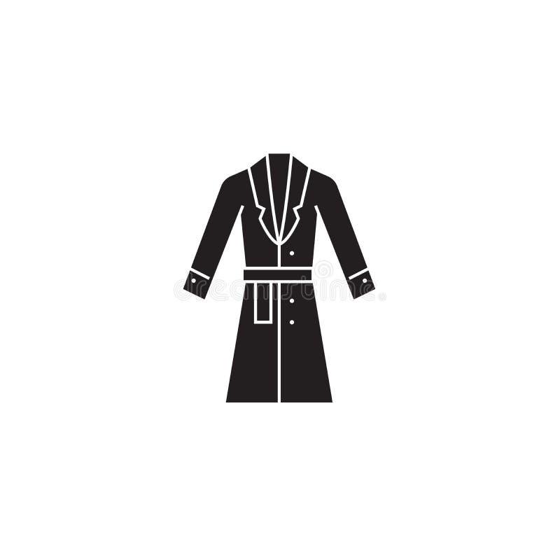 Topcoat, μαύρο διανυσματικό εικονίδιο έννοιας χειμερινών παλτών Topcoat, επίπεδη απεικόνιση χειμερινών παλτών, σημάδι διανυσματική απεικόνιση