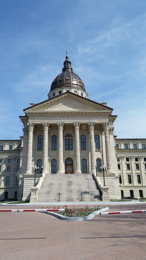 Topeka国会大厦修造的西边 库存图片