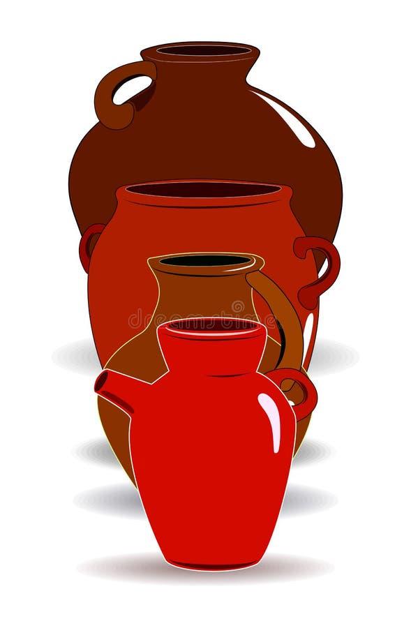Topf Ein Satz Tonwaren Ethnische Keramik mit Verzierung Tonwaren keramisch, Illustrator stock abbildung