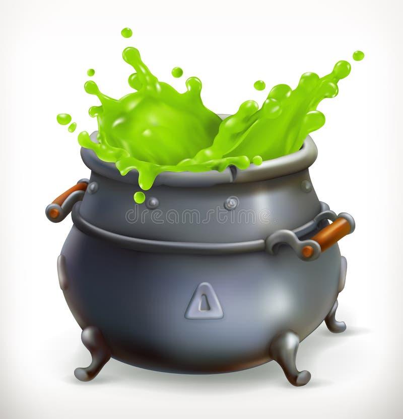 Topf Hexen-Küche Glückliches Halloween, Vektor 3d lizenzfreie abbildung
