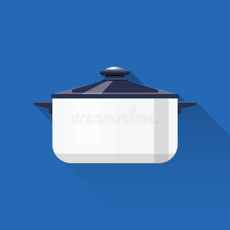 Topf kasserolle Flaches Design Auch im corel abgehobenen Betrag Kochgerät Küchenmaterial vektor abbildung
