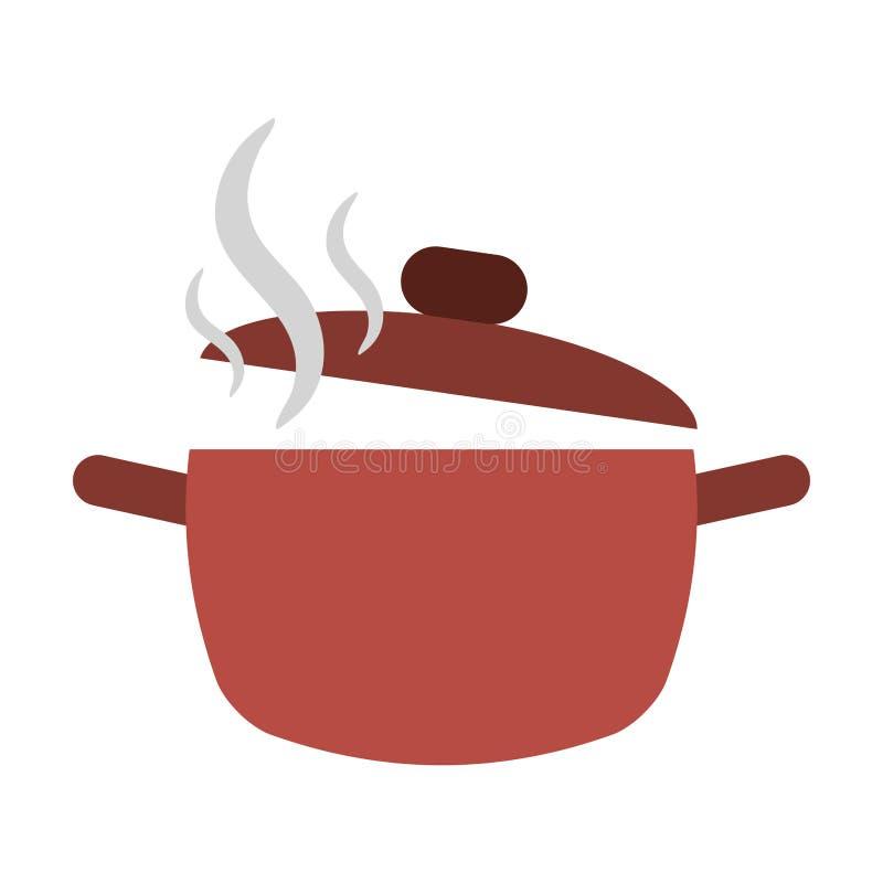 Topf kochend, öffnen Sie Küche der warmen Küche lizenzfreie abbildung