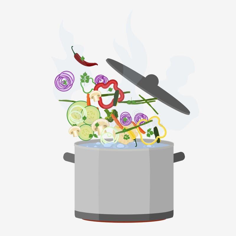 Topf kochend, öffnen Sie sich stock abbildung