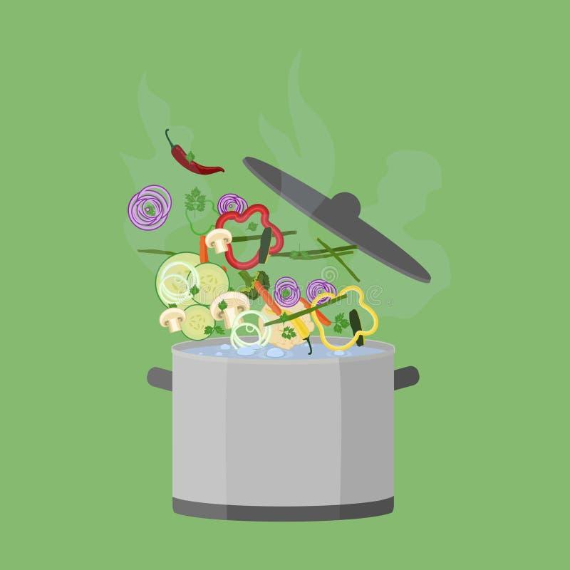 Topf kochend, öffnen Sie sich lizenzfreie abbildung
