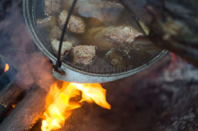 Topf mit dem Fleischeintopfgericht, kochend auf Feuerflamme, in einem touristischen Lager im wilden Wald stockfotografie