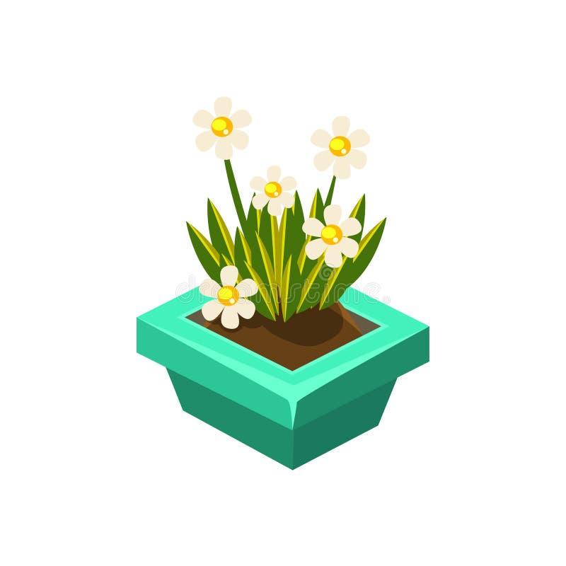 Topf Mit Dem Weiße Blumen-isometrischen Garten, Der Element ...