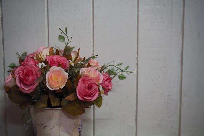 Topf mit weißem hölzernem Plankenhintergrund der Rosen stockfotografie