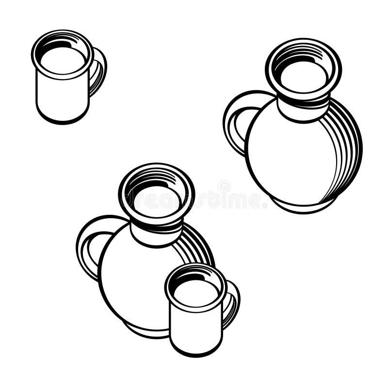 Topf und Schale Milch lizenzfreie abbildung