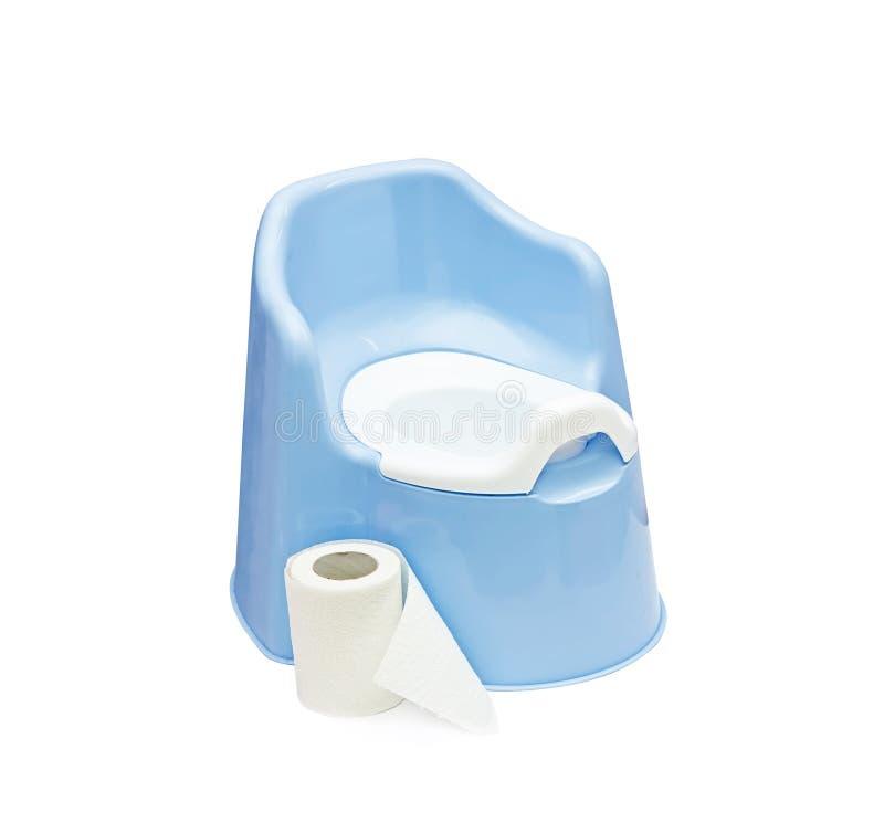 Topf und Toilettenpapier stockbild
