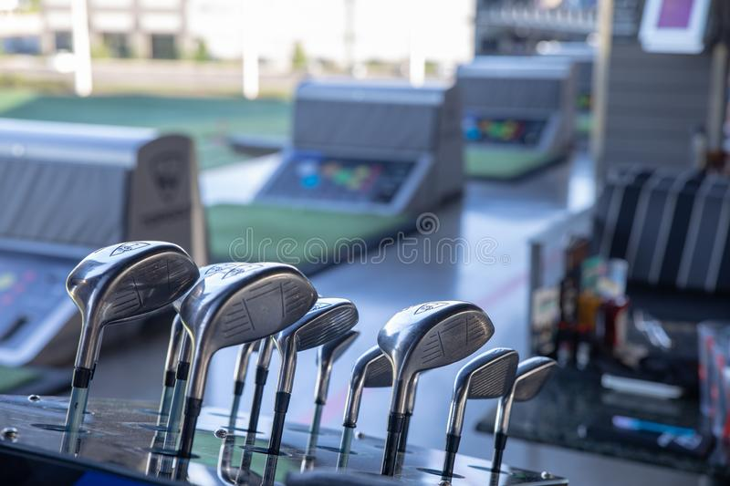 TopGolf, Entertainment venue with swanky lounge with drinks & games in Hillsboro, Oregon. Hillsboro, Oregon - May 11, 2019 : TopGolf, Entertainment venue with stock images
