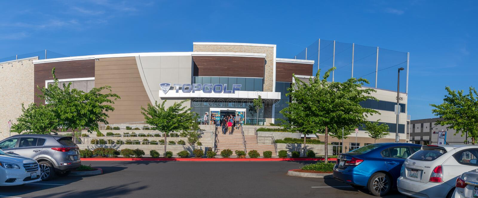 TopGolf, Entertainment venue with swanky lounge with drinks & games in Hillsboro, Oregon. Hillsboro, Oregon - May 11, 2019 : TopGolf, Entertainment venue with royalty free stock photo