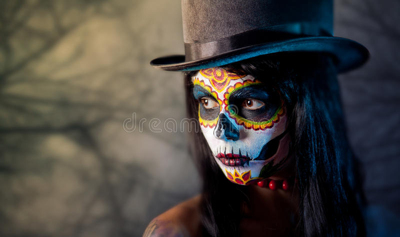 tophat сахара черепа девушки стоковые фотографии rf