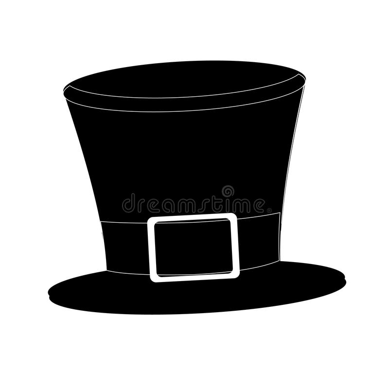 Tophat. Isolated on white background. Black silhouette cylinder. Vintage top hat. Vector. royalty free illustration