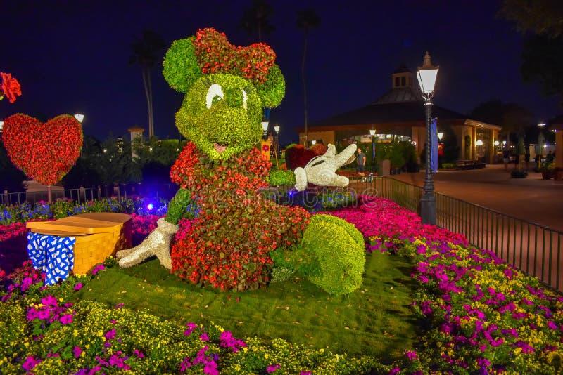 Topiarie de Minnie un jour romantique Epcot de pique-nique en Walt Disney World photo libre de droits