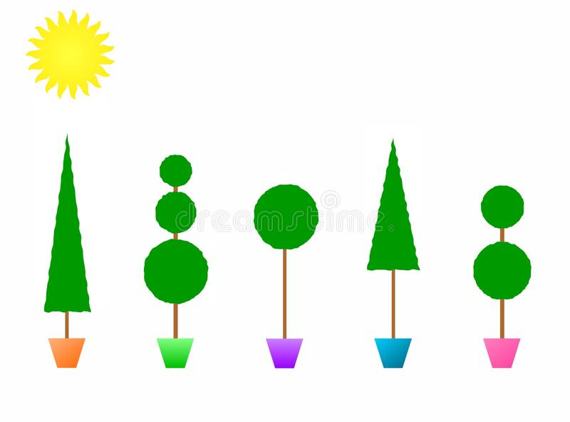 Topiaries en crisoles coloridos libre illustration