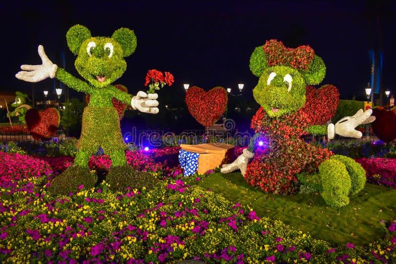 Topiaries Mickey и Минни на красочном пейзаже на Epcot в мире 1 Уолт Дисней стоковые фото