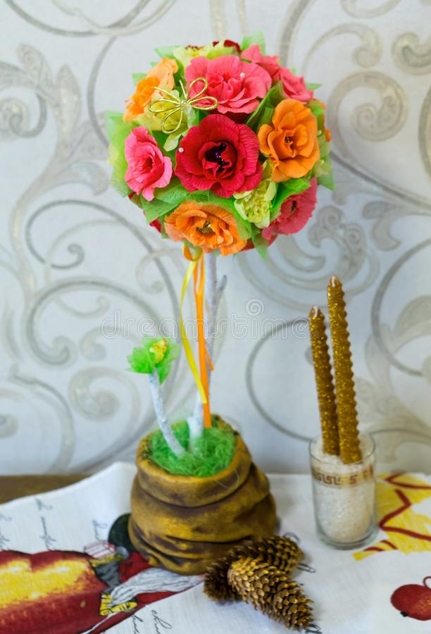 Topiarium handmade. tree with sweets, fragments royalty free stock photo
