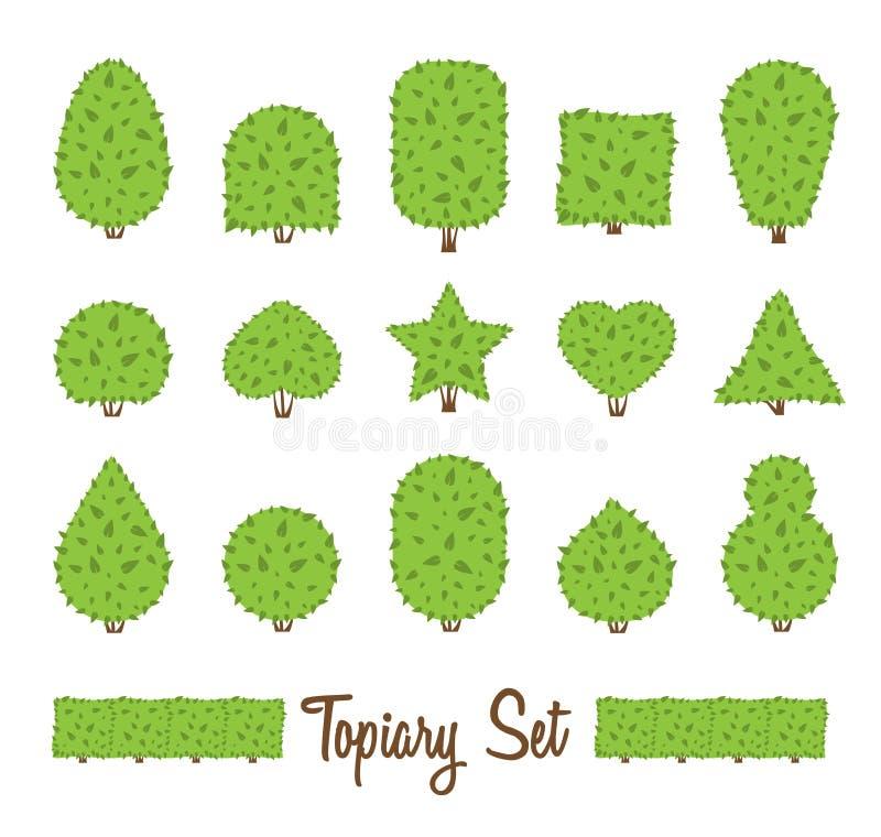 Topiary σύνολο Διαφορετική βασική μορφή των θάμνων, δέντρα Πράσινοι πολύμορφοι θάμνοι ελεύθερη απεικόνιση δικαιώματος