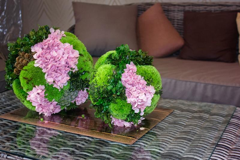 Topiary de flores cor-de-rosa e para evegreen plantas Mob?lia do Rattan imagem de stock royalty free