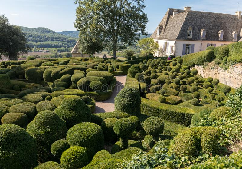Topiary in the gardens of the Jardins de Marqueyssac in the Dordogne region of France. Topiary in the gardens of the Jardins de Marqueyssac in the Dordogne stock photography