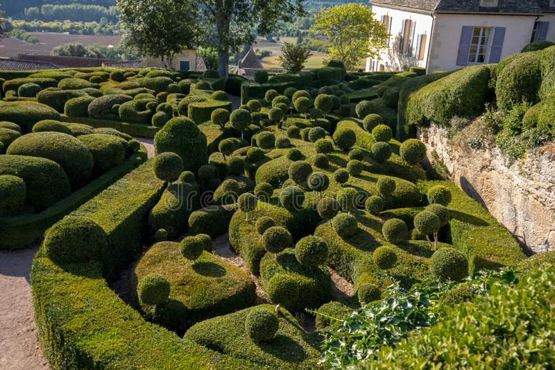 Topiary in the gardens of the Jardins de Marqueyssac in the Dordogne region of France. Topiary in the gardens of the Jardins de Marqueyssac in the Dordogne royalty free stock photography