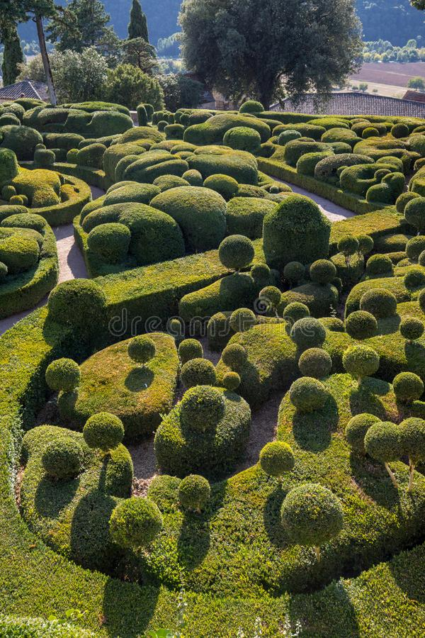 Topiary in the gardens of the Jardins de Marqueyssac in the Dordogne region of France. Topiary in the gardens of the Jardins de Marqueyssac in the Dordogne royalty free stock photos