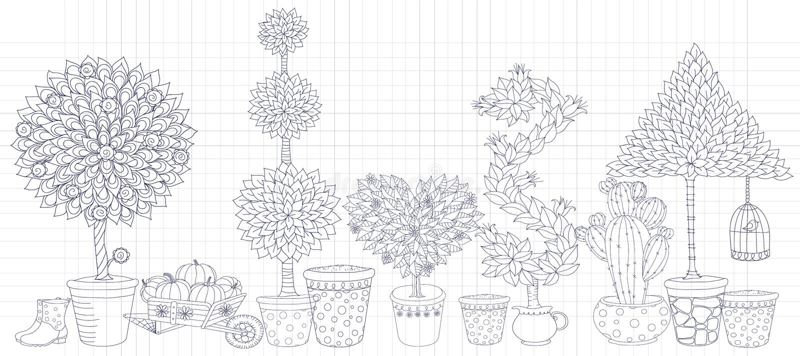 Topiarylandskapet planterar samlingsvektorn, uppsättning med träd stock illustrationer