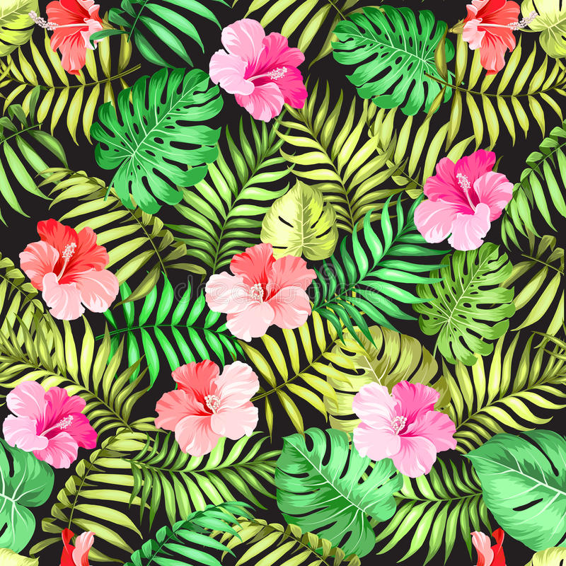 Topical palm leaves pattern. stock illustration