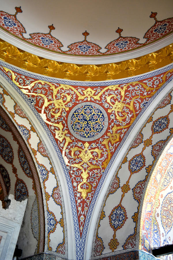 Topkapi ceiling. Topkapi palace is a large palace in Istanbul, Turkey, that was the primary residence of the Ottoman Sultans for approximately 400 years (1465 royalty free stock image