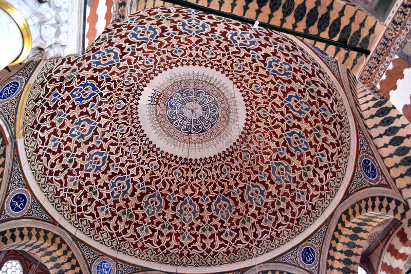 Topkapi ceiling. Topkapi palace is a large palace in Istanbul, Turkey, that was the primary residence of the Ottoman Sultans for approximately 400 years (1465 stock images