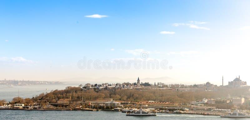 Topkapi pałac od Galata wierza fotografia royalty free