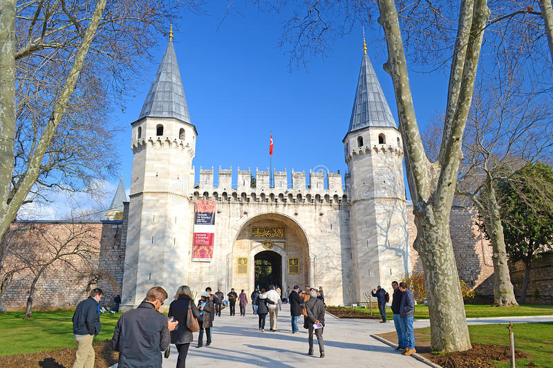 Topkapi Palace Gate. Topkapi Palace was commanded by sultan Mehmed The Second Fatih in 1459 and finished in just 6 years. It is the symbol and center of The stock images