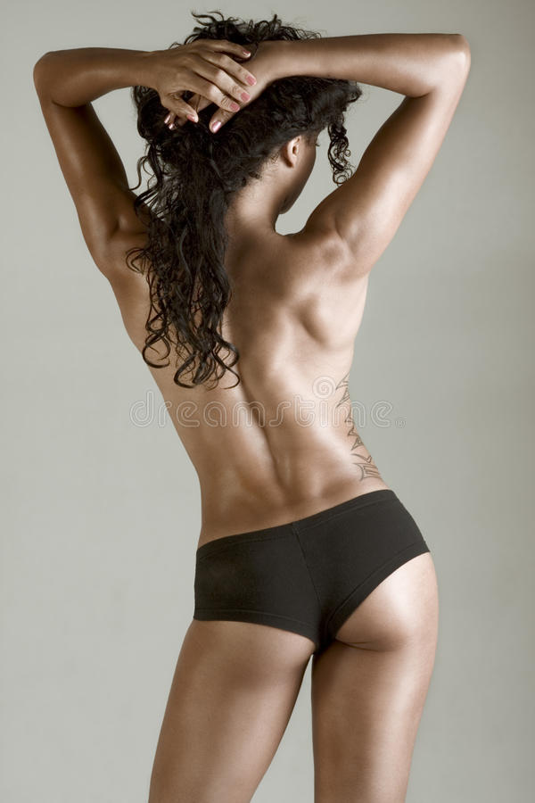 Topless Athletic Muscular Build Beautiful Woman Royalty Free Stock Photography