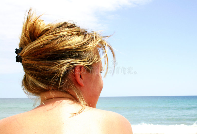 Topless Beach Girl royalty free stock photography