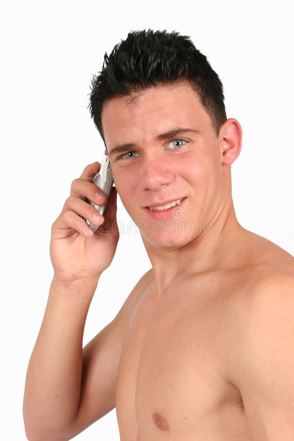 Topless male on his phone royalty free stock images