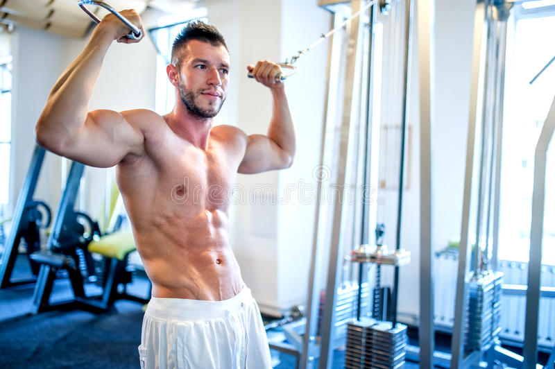 Topless man, bodybuilder and muscular man working the biceps royalty free stock photo