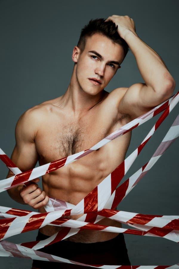 Topless man för mode arkivbild