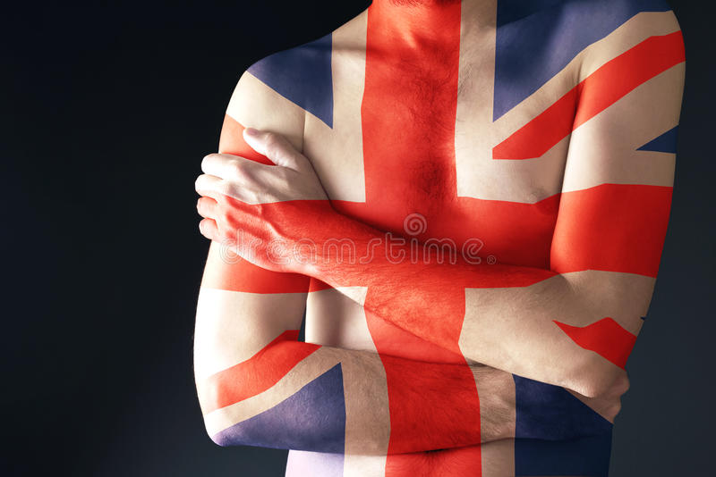 Topless man with Great Britain Flag painted on his body. Patriotism and national team support concept stock images