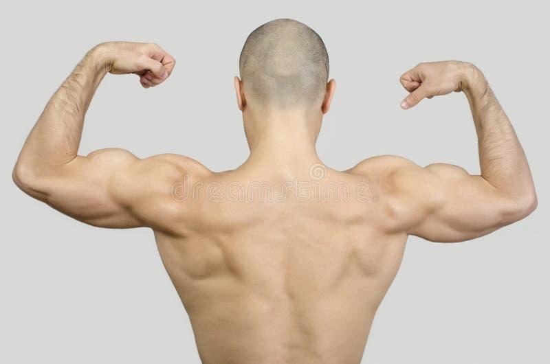 Topless mens van de rug die zijn wapens en vuisten opheffen stock fotografie